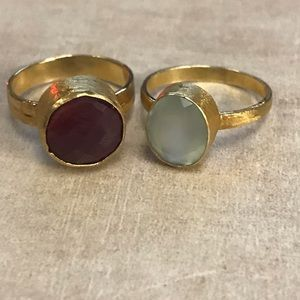 Ruby and chalcedony gold vermeil rings